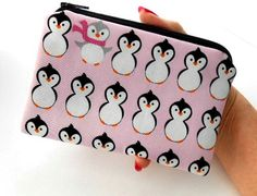 Pink Penguins Little Zipper Pouch ECO Friendly Padded Coin Purse by JPATPURSES, $8.00