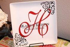 Vinyl Monogram Wedding Display Plate. So this is sold...but I wonder if I could make it myself.  Hmm