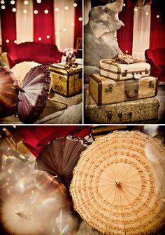 vintage suitcases, umbrella