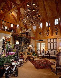 roger wade studio interior design photography of great room in traditional timber frame house, private residence, cashiers, north carolina, ...