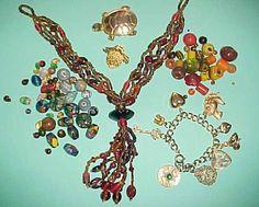 Mixed Lot Necklace Beads Glass Ceramic Bracelet by EstateFinds4U, $9.99