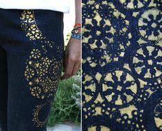 DIY patterned jeans