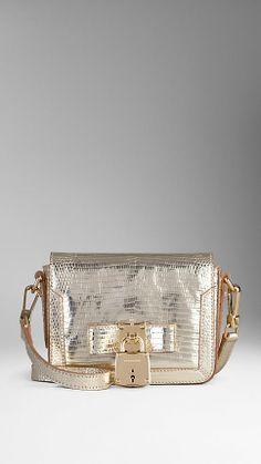 Metallic Lizard Lock Detail Crossbody Bag   Burberry