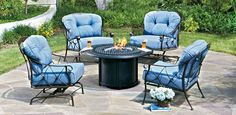 Derby seating group with Fire Pit cocktail table, @woodardfurn