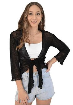 Sexy Summery Black Ladies Sheer Shrug. Super Lightweight Knit Cardigan. You can roll this up  in your bag and pop on after the sun goes down.  Throw over a summer dress, jeans or shorts. #luau #cruisewear #summer #beachcoverup #bolero #cruisewear #beachcardigan #cardigan #over-swim #prime