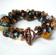 Hand knitted autumn tone bracelet