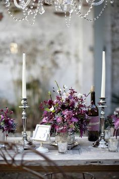 Purple and silver table settings, shades of purple, centerpiec, color, silver, purple wedding, wine bottles, flower, parti