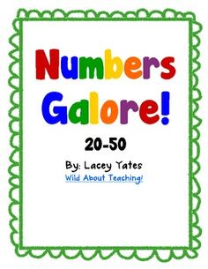 FREE! This pack includes handwriting practice, ten frame examples, even vs. odd, one more, one less, number partners, etc. for each number 20-50.Ther...