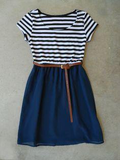 Stripes & Navy Dress