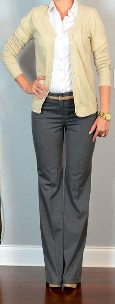 outfit post: white buttondown shirt, cream cardigan, grey 'editor' pants | Outfit Posts Dynamic
