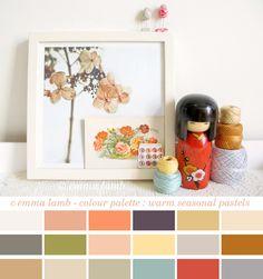Emma Lamb - colour palette : warm seasonal pastels.