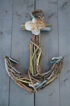 decor, anchors, idea, seashells crafts, seashells project, hous, beach, honeypickl, driftwood anchor with shells