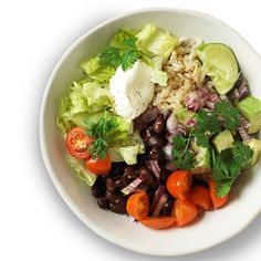 Hearty Bean Burrito Bowl #myplate #grains #vegetables #protein #dairy