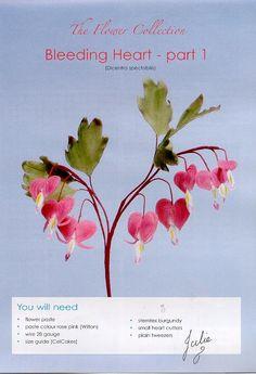 bleeding heart flowers made of gumpaste