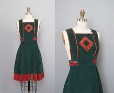 vintage 1950s TEENA PAIGE green corduroy jumper dress