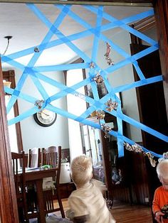 Need a moment to yourself? Create a life-sized spider web and have your kids throw papers at it. It'll keep them occupied for awhile! http://www.ivillage.com/craft-ideas-do-your-boy/6-a-529140#