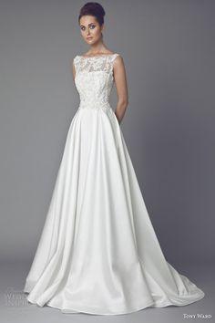 tony ward bridal couture 2015 reine des pres sleeveless wedding dress illusion neckline