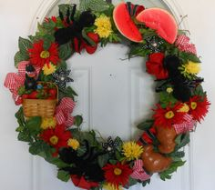 SUMMER 4th of July PICNIC Basket WREATH
