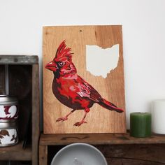 State Bird Series - Hand Drawn Paint by Number Kit - OHIO on Etsy by quaintbynumber #etsy #ohio #cardinal #bird #paintbynumber #retro $30