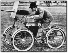 From Cracked.com, 18 old-timey photos you wouldn't believe... like this bicycle machine gun.  What the What?