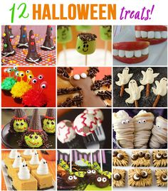 12 halloween treats for parties. I really just want this for the mummy decorated recipe that looks like eclairs. Mmmm!