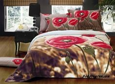 $poppy #cotton Poppy Print 4-Piece Cotton Duvet Cover Sets  Live a better life, start with @beddinginn http://www.beddinginn.com/product/Amazing-Poppy-Flower-Print-4-Piece-Cotton-Duvet-Cover-Sets-11030473.html