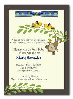 Monkey Baby Boy Shower Invitation