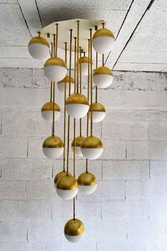 :: Brass & Glass Chandelier By Stilnovo | Italy, 1965 ::