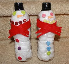 Upcycled Water Bottle Snowmen - not my usual pin, but this is a great one for small children to accomplish on their own.  You can always use marshmallows for the insides and use them as gifts.......