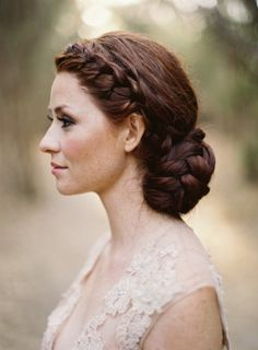 How gorgeous is her hair! Braided wedding bun. Photo by Jose Villa