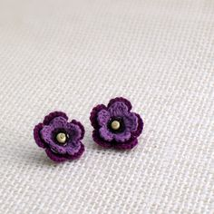 Crochet flower earrings women jewerly free by 1001ArtBeads, $18.40