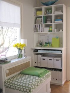 Green and White Office
