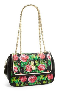 Love! Betsey Johnson floral heart quilted tote.