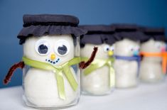 Adorable! Make homemade play dough and store it in an adorable Snowman Jar
