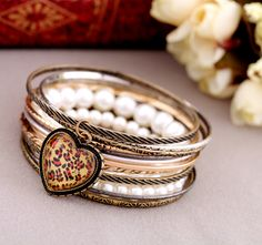 Alloy And Simulated Pearl Bracelet With Multilayers