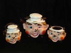 TILSO Vintage Anthropomorphic Bee Chef Face Teapot Tea Pot Set Creamer Sugar
