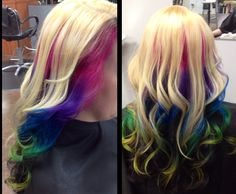 Love my rainbow hair colors! Platinum Blonde on top, rainbow ombre in the center crown area, using Paul Mitchell Inkworks. Pink, purple, green, blue and yellow! With dark brown, brunette underneath. Curled with a babylis curl iron.