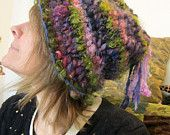 rustic puffy soft handknit hat -  enchanted forest dweller