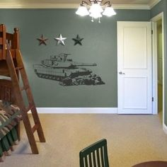 Camo Military Tank Sudden Shadows Wall Decor- diego wants this!! he's begging his gram :)