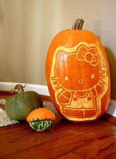 Hello Kitty Pumpkin #Halloween #hellokitty