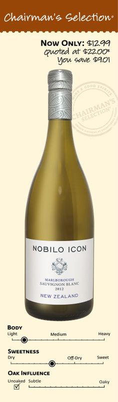 """Nobilo Icon Sauvignon Blanc 2012: """"Vibrant, juicy and intense, offering lemon, peach and grapefruit flavors, with notes of fresh-cut grass and jalapeño. Mouthwatering finish. Drink now."""" *88 Points Wine Spectator, June 15, 2013. $12.99"""