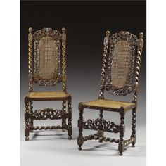 A PAIR OF CHAIRS, WILLIAM AND MARY, LATE 17TH CENTURY walnut and cane, the arched cresting rails with conforming front stretchers