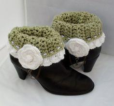 rose key, white roses, crochet boot cuffs, cuff green