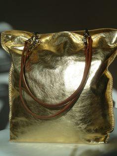 Gajumbo Tote Bag Metallic Leather - Gold Silver