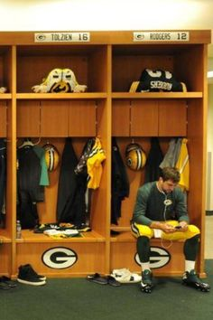 Aaron before the game in the locker room