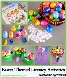 Cute ideas! Easter Themed Literacy Activities (Preschool Co-op Week 23)
