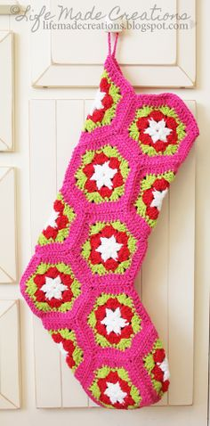 Crochet stocking made by Life Made Creations. Instructions in post.