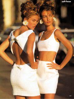 """Soft Focus"",US Vogue February 1991  Photographer: Patrick Demarchelier  Models: Karen Mulder and Elaine Irwin"