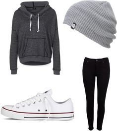 Slouchy hoodie for lazy days with dark jeans. POSSIBLY. look into white converse (or knock offs whateve.) @veronicalewi