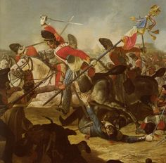 Sargent  Ewart of the Royal Scot's Greys capturing th French Eagle during the battle of Waterloo.